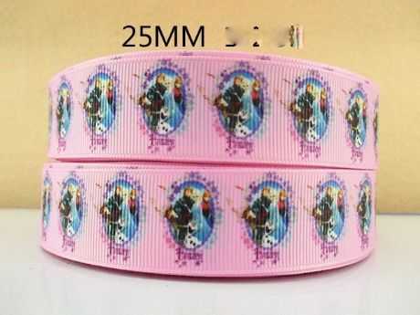 1 METRE NEW PINK FROZEN CHARACTER RIBBON SIZE 1 INCH HEADBANDS HAIR BOWS CRAFTS